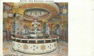 Buffet New Brevoort Chicago Illinois Grant Interior 1910 Postcard 20-9295