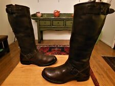Pre-owned FRYE Women's Brn/Burg. Leather 2 Buckle Engineer, Biker Boots  7.5B