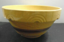VINTAGE YELLOW BROWN BAND POTTERY BOWL 10""