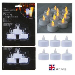 6PC FLICKERING TEA LIGHT CANDLES Flameless Candles LED Battery Powered Tealights