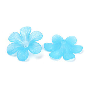 Colorful Transparent Acrylic Flower Bead Frosted Big Size Loose Bead Caps 33x8mm