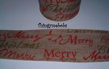 1m x 62mm HESSIAN MERRY CHRISTMAS RIBBON - CRAFTS/CAKE MAKING/CARD MAKING