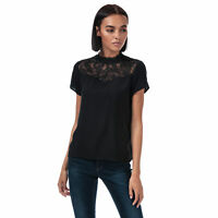 Womens Only First Short Cap Sleeve Stand Up Collar Lace Top in Black