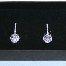1.25ctw Aquamarine 16 Diamonds Leverback Earrings 14k White Gold over 925 SS