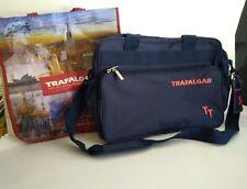 "TRAFALGAR TRAVEL Blue Messenger Travel Bag and Reusable 14x13"" Shopping Tote"