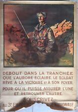 Affiche Guerre 3ème EMPRUNT DEFENSE NATIONALE Soldat Poilus JEAN DROIT 1917 *