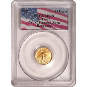 1999 PCGS MS-69 $5 Gold American Eagle WTC Recovery