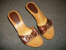 """MIA Slide Heels 9 M Wood / Brown Leather Strap 3 1/2"""" Heel Shoes"""