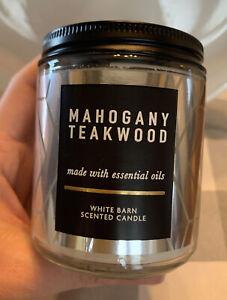 Bath & Body Works MAHOGANY TEAKWOOD Medium WHITE BARN Candle 7oz. 1-Wick