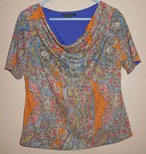 FOR CYNTHIA PETITE ~ MEDIUM PM PRINT DRAPING NECKLINE KNIT BLOUSE TOP