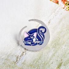 Cartoon Moon Blue Cat Pattern Enamel Brooch Pin Badge Fashion Jewelry Kid Gift