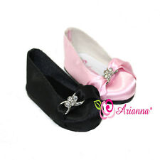 """Arianna Rhinestone Black & Pink Ballet Dress Shoes for 18"""" American Girl Doll"""