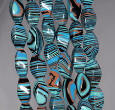 MATRIX TURQUOISE GEMSTONE BLUE STRIPE TWIST BARREL TUBE 16X8MM LOOSE BEADS 15.5""