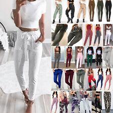 Women High Waist Pencil Leggings Pant Loose Tight Casual Cargo Trousers Jeggings