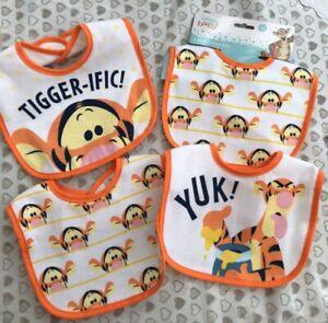 4  Pack Disney Tigger Baby Bibs boys girls