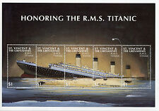 St Vincent & Grenadines 1997 MNH Honoring RMS Titanic 5v M/S Ships Boats Stamps