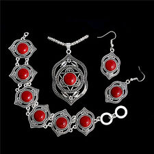 Fashion New Vintage Turquoise Jewelry Set Hook Earrings Bracelet Necklace set
