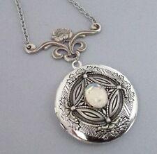 Opalite Locket Necklace Large Art Nouveau Floral Pendant Art Nouveau Jewelry