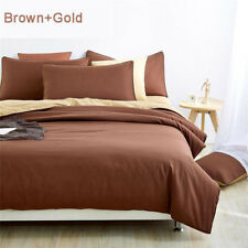 Queen Bed Duvet Quilt Cover Flat Sheet and Pillowcases 4 piece SET Brown & Gold