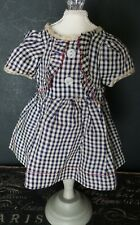 Vintage! 1950 Era Black Checkered Ruffled Designed Dress for Hard Plastic Dolls