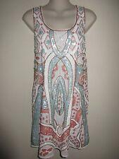 MEGHAN LA $258.- Rare Deco Dress, White-Mint-Coral All-Over Sequin, Mini,  S