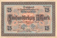 Notgeldschein Memel 75 Mark 1922 Memelgebiet Ro.853