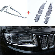 8PCS Chrome Headlight Spray Trim + Eyebrow Trim For 2014-16 Jeep Grand Cherokee