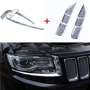 8PCS Chrome Headlight Spray Trim + Eyebrow Trim For 2014-16 Jeep Grand Cherokee