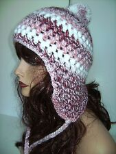 SOFT ROSE / WHITE WOMENS HAND CROCHET EARFLAP PERUVIAN HAT BOHO HIPPIE SNOOD CAP