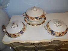 Vintage Bridgwood Anchor China Floral Covered Serving Bowls Set of 3