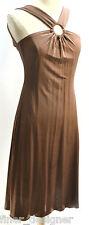 MUCHACHA DRESS SZ M Brown slinky knit Slimming Dress Club sexy halter NEW $128