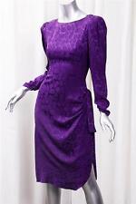 BILL BLASS Womens VINTAGE Purple Satin Long-Sleeve Knee-Length Shift Dress 6