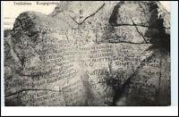TROLLHÄTTAN ~1910 Kungsgrottan Inschriften im Stein AK