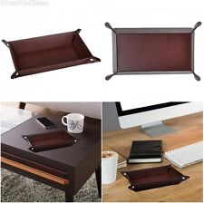 Mens Valet Tray PU Leather Watch Coin Office Items Desk Organizer Caddy Dresser