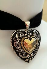 BEAUTIFUL and CLASSY Heart Choker! Silver and Gold on Black Velvet BDSM Collar