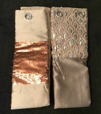 NEW * 2 SINGLE CURTAIN PANELS - 54 x 86 in * BEIGE Gold Copper