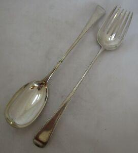 Good pair Antique Georgian Sterling silver salad servers, 188 grams