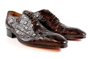 Ivan Troy Brown Cube Handmade  Men Italian Leather Dress Shoes/Oxford Shoes