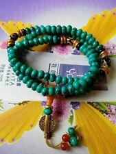 Hot Tibetan Turquoise Buddhist Buddha Prayer Bead Mala Bracelet Dzi Eye Gift