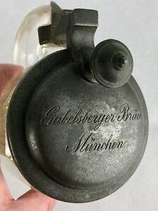 GABELSBERGER-BRÄU MÜNCHEN CA. 1890 GLAS BIERKRUG 1/2 L ZINNDECKEL SEHR SELTEN