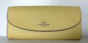 New Coach F54009 wallet Slim Envelope Leather Light Yellow