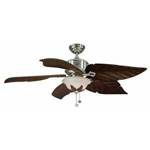 Hampton Bay Antigua Plus 56 in. LED Indoor Brushed Nickel Ceiling Fan with Light