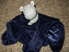 Ln 14x14 Carter's Hippo Plush Velour Satin Security Lovey Crib Blanket Rattle