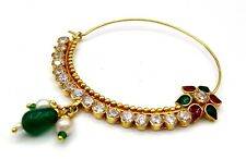 Indian Bridal Nose Pin Nose Ring Antique Style Gold Fabulous Cubic Zirconia Nath