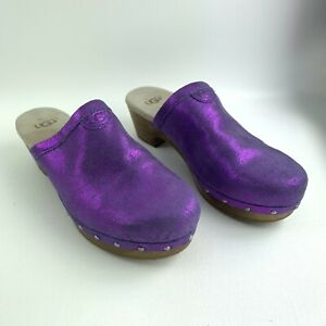 Womens Ugg Purple Sparkles Evie Clog Mules Leather Wood Heel Size 5 Style 3376