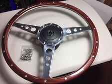 Ford Cortina Mk1 16 In Polished Woodrim Steering Wheel  (Flat ) & Boss Kit 023