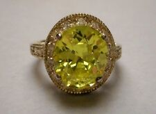 Estate Ring - Sterling Silver 925 Filigree & Oval Faux Peridot - Size 7.25