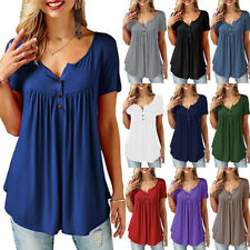 Women Summer Crew Neck Short Sleeve Blouse Solid T Shirt Casual Loose Tunic Tops