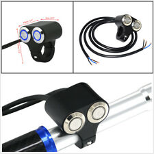 22mm Aluminum Alloy Motorcycle Handlebar Dual Button Switch Blue LED Self-return