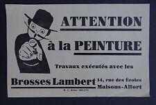 Grande étiquette ATTENTION A LA PEINTURE Brosses LAMBERT pinceau french label